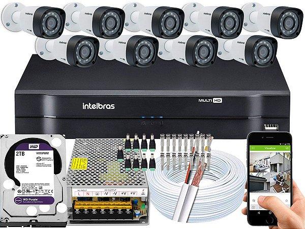 Kit CFTV Intelbras 09 Câmeras VHD 1220 B G4 e DVR de 16 Canais MHDX 1116 2TB WD Purple