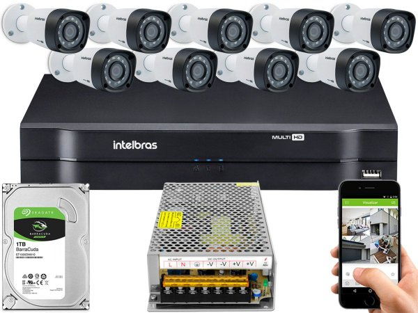 Kit CFTV Intelbras 09 Câmeras VHD 1220 B G4 e DVR de 16 Canais MHDX 1116 Sem Cabo
