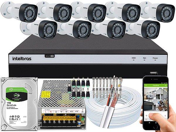 Kit CFTV Intelbras 09 Câmeras VHD 1220 B G4 e DVR de 16 Canais MHDX 3116