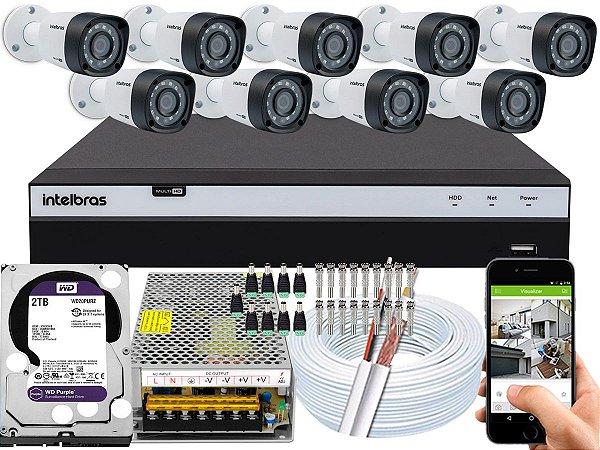 Kit CFTV Intelbras 09 Câmeras VHD 1220 B G4 e DVR de 16 Canais MHDX 3116 2TB WD Purple