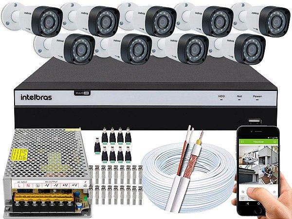 Kit CFTV Intelbras 09 Câmeras VHD 1220 B G4 e DVR de 16 Canais MHDX 3116 Sem HD