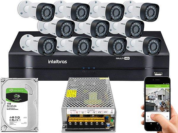Kit CFTV Intelbras 11 Câmeras VHD 1220 B G4 e DVR de 16 Canais MHDX 1116 Sem Cabo