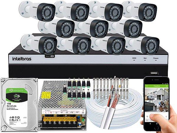Kit CFTV Intelbras 11 Câmeras VHD 1220 B G4 e DVR de 16 Canais MHDX 3116