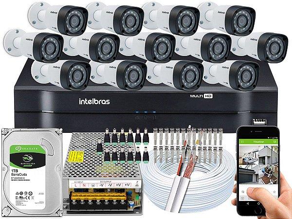 Kit CFTV Intelbras 13 Câmeras VHD 1220 B G4 e DVR de 16 Canais MHDX 1116