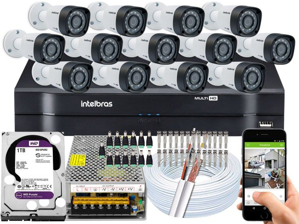 Kit CFTV Intelbras 13 Câmeras VHD 1220 B G4 e DVR de 16 Canais MHDX 1116 1TB WD Purple
