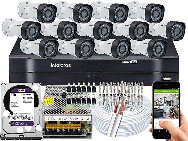 Kit CFTV Intelbras 13 Câmeras VHD 1220 B G4 e DVR de 16 Canais MHDX 1116 2TB WD Purple