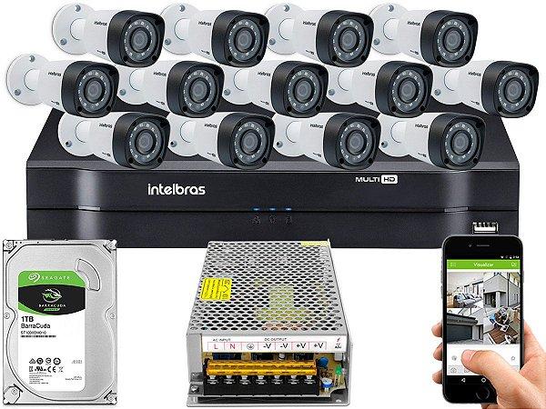 Kit CFTV Intelbras 13 Câmeras VHD 1220 B G4 e DVR de 16 Canais MHDX 1116 Sem Cabo