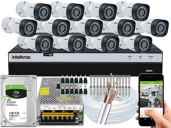 Kit CFTV Intelbras 13 Câmeras VHD 1220 B G4 e DVR de 16 Canais MHDX 3116