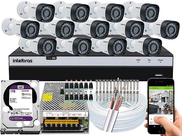 Kit CFTV Intelbras 13 Câmeras VHD 1220 B G4 e DVR de 16 Canais MHDX 3116 1TB WD Purple