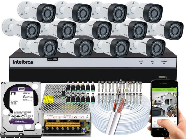 Kit CFTV Intelbras 13 Câmeras VHD 1220 B G4 e DVR de 16 Canais MHDX 3116 2TB WD Purple