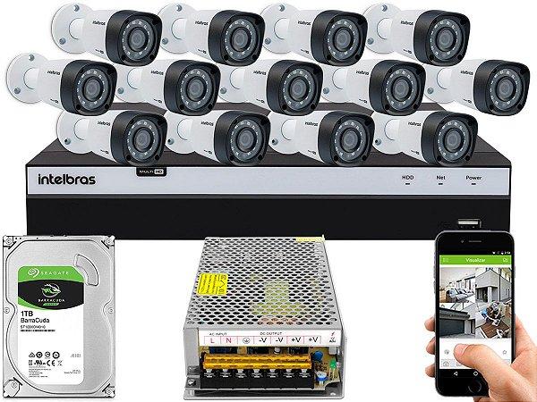Kit CFTV Intelbras 13 Câmeras VHD 1220 B G4 e DVR de 16 Canais MHDX 3116 Sem Cabo