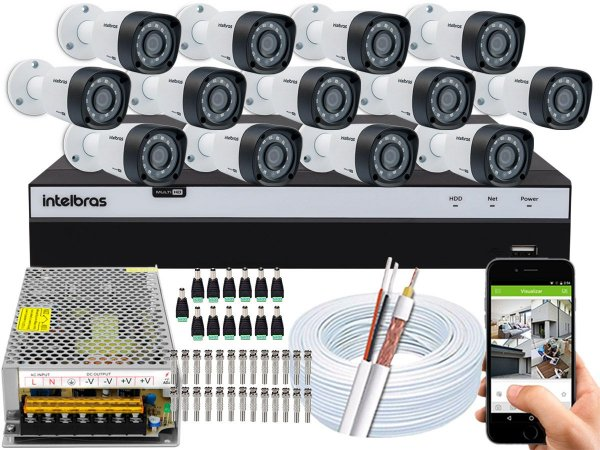 Kit CFTV Intelbras 13 Câmeras VHD 1220 B G4 e DVR de 16 Canais MHDX 3116 Sem HD