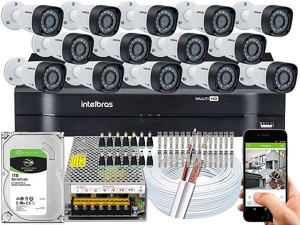 Kit CFTV Intelbras 14 Câmeras VHD 1220 B G4 e DVR de 16 Canais MHDX 1116