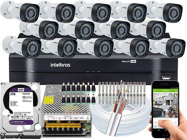 Kit CFTV Intelbras 14 Câmeras VHD 1220 B G4 e DVR de 16 Canais MHDX 1116 2TB WD Purple