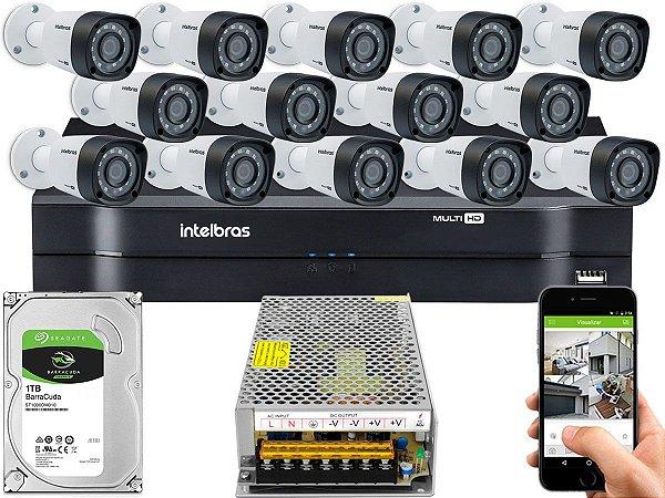 Kit CFTV Intelbras 14 Câmeras VHD 1220 B G4 e DVR de 16 Canais MHDX 1116 Sem Cabo