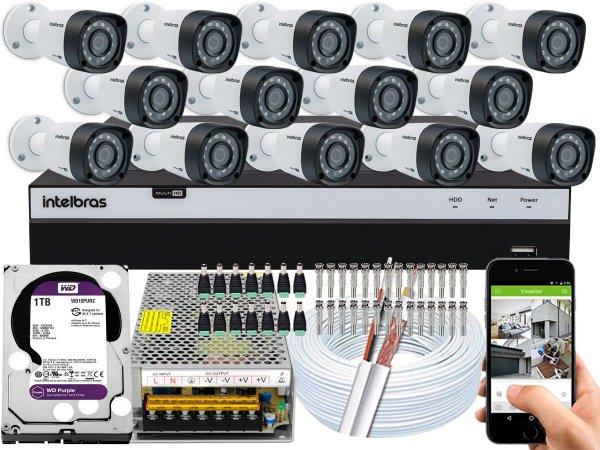 Kit CFTV Intelbras 14 Câmeras VHD 1220 B G4 e DVR de 16 Canais MHDX 3116 1TB WD Purple