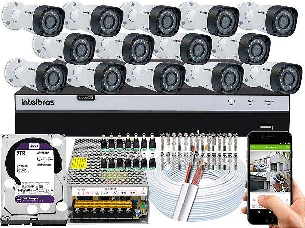 Kit CFTV Intelbras 14 Câmeras VHD 1220 B G4 e DVR de 16 Canais MHDX 3116 2TB WD Purple