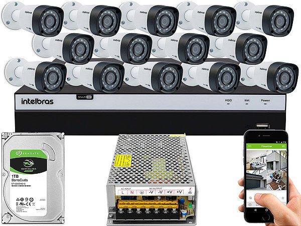 Kit CFTV Intelbras 14 Câmeras VHD 1220 B G4 e DVR de 16 Canais MHDX 3116 Sem Cabo