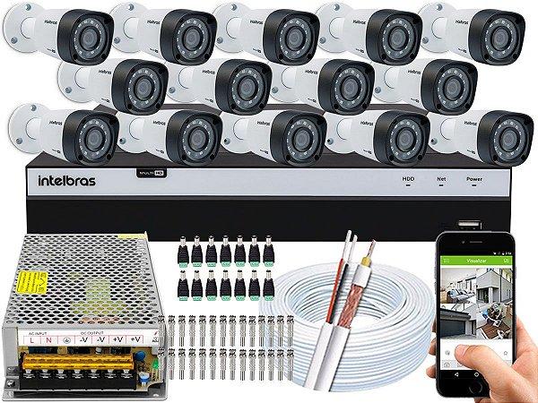 Kit CFTV Intelbras 14 Câmeras VHD 1220 B G4 e DVR de 16 Canais MHDX 3116 Sem HD