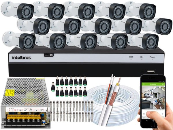 Kit CFTV Intelbras 15 Câmeras VHD 1220 B G4 e DVR de 16 Canais MHDX 3116 Sem HD