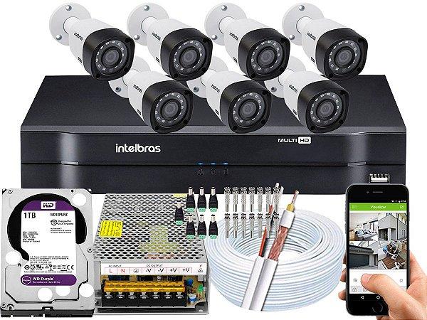 Kit CFTV Intelbras 07 Câmeras VHD 3230 B G4 e DVR de 08 Canais MHDX 1108 1TB WD Purple