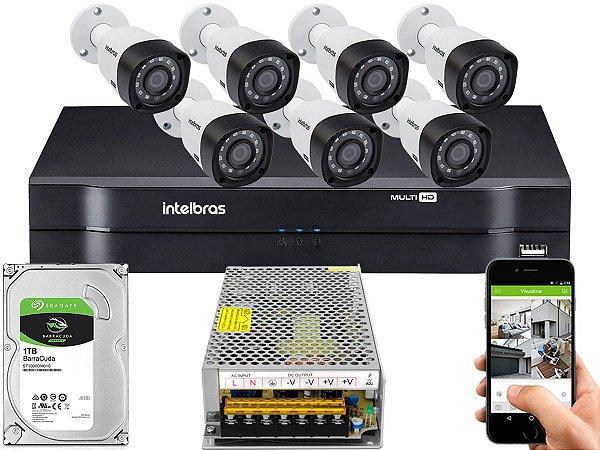 Kit CFTV Intelbras 07 Câmeras VHD 3230 B G4 e DVR de 08 Canais MHDX 1108 Sem Cabo