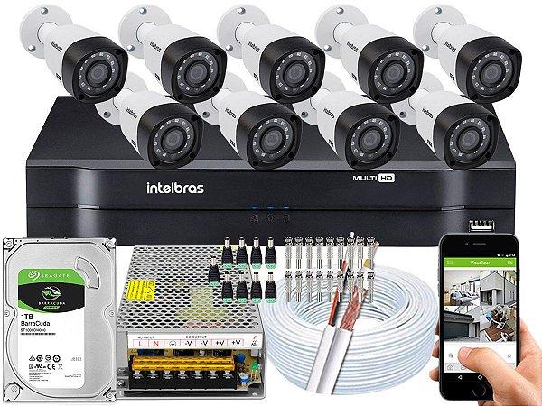 Kit CFTV Intelbras 09 Câmeras VHD 3230 B G4 e DVR de 16 Canais MHDX 1116