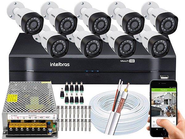 Kit CFTV Intelbras 09 Câmeras VHD 3230 B G4 e DVR de 16 Canais MHDX 1116 Sem HD