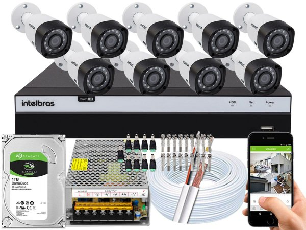 Kit CFTV Intelbras 09 Câmeras VHD 3230 B G4 e DVR de 16 Canais MHDX 3116