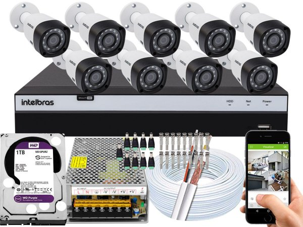 Kit CFTV Intelbras 09 Câmeras VHD 3230 B G4 e DVR de 16 Canais MHDX 3116 1TB WD Purple