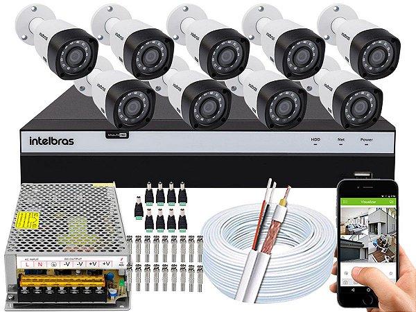 Kit CFTV Intelbras 09 Câmeras VHD 3230 B G4 e DVR de 16 Canais MHDX 3116 Sem HD