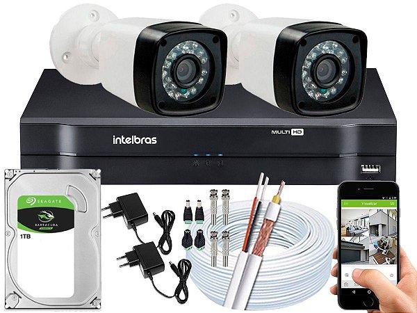 Kit CFTV 02 Câmeras Importadas e DVR de 04 Canais MHDX 1104 1TB