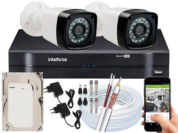Kit CFTV 02 Câmeras Importadas e DVR de 04 Canais MHDX 1104 500GB