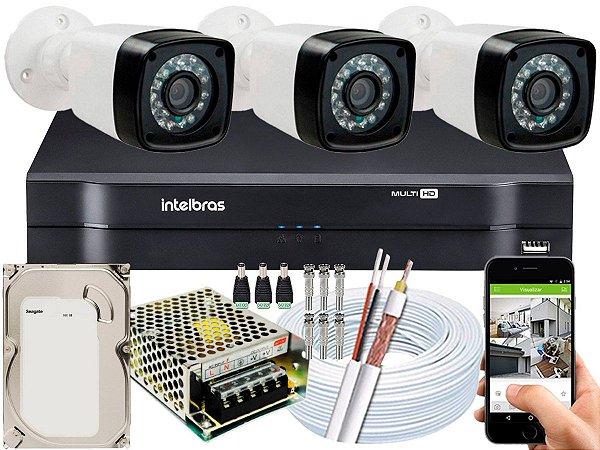 Kit CFTV 03 Câmeras Importadas e DVR de 04 Canais MHDX 1104 500GB