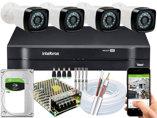 Kit CFTV 04 Câmeras Importadas e DVR de 04 Canais MHDX 1104 1TB