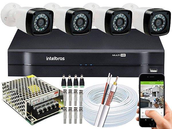 Kit CFTV 04 Câmeras Importadas e DVR de 04 Canais MHDX 1104 Sem HD