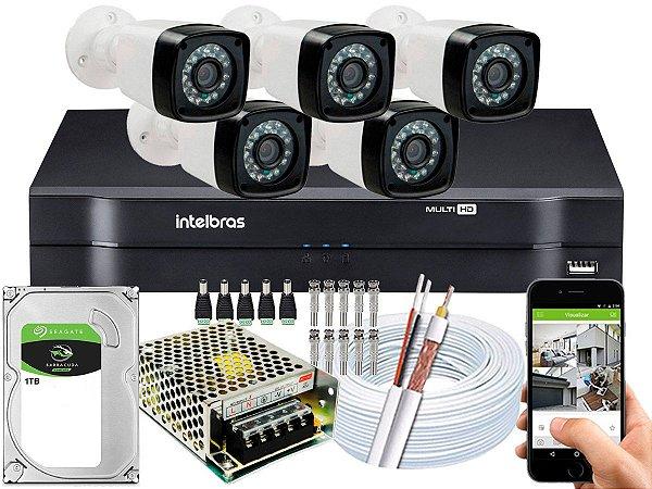 Kit CFTV 05 Câmeras Importadas e DVR de 08 Canais MHDX 1108 1TB