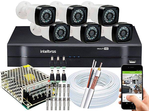 Kit CFTV 06 Câmeras Importadas e DVR de 08 Canais MHDX 1108 Sem HD