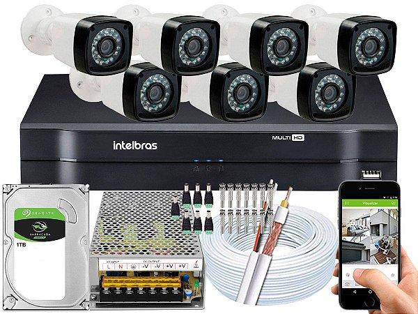 Kit CFTV 07 Câmeras Importadas e DVR de 08 Canais MHDX 1108 1TB