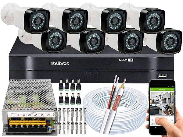 Kit CFTV 08 Câmeras Importadas e DVR de 08 Canais MHDX 1108 Sem HD