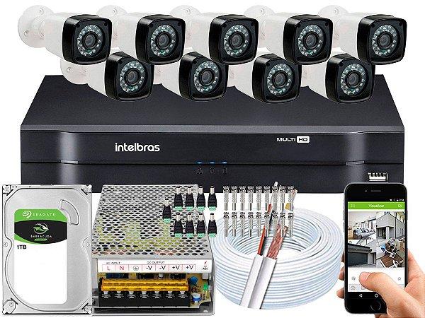 Kit CFTV 09 Câmeras Importadas e DVR de 16 Canais MHDX 1116 1TB