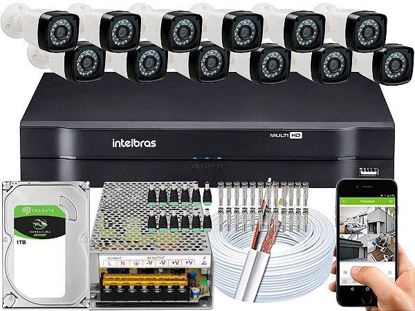 Kit CFTV 12 Câmeras Importadas e DVR de 16 Canais MHDX 1116 1TB