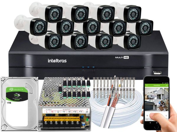 Kit CFTV 13 Câmeras Importadas e DVR de 16 Canais MHDX 1116 1TB