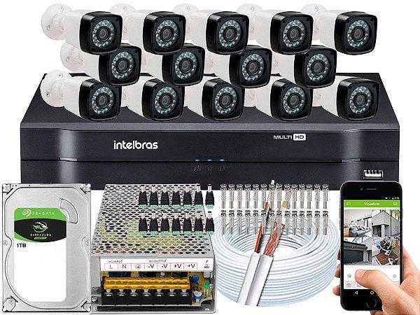 Kit CFTV 14 Câmeras Importadas e DVR de 16 Canais MHDX 1116 1TB