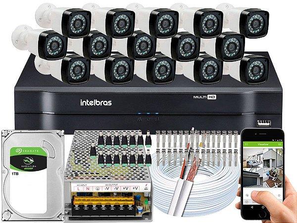 Kit CFTV 15 Câmeras Importadas e DVR de 16 Canais MHDX 1116 1TB