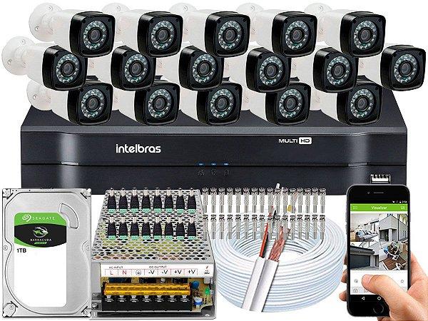 Kit CFTV 16 Câmeras Importadas e DVR de 16 Canais MHDX 1116 1TB