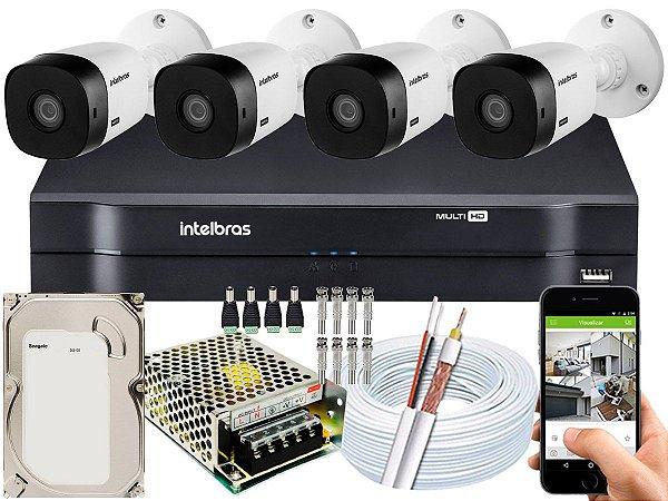 Kit CFTV Intelbras 04 Câmeras VHL 1220 B e DVR de 04 Canais MHDX 1104 500GB