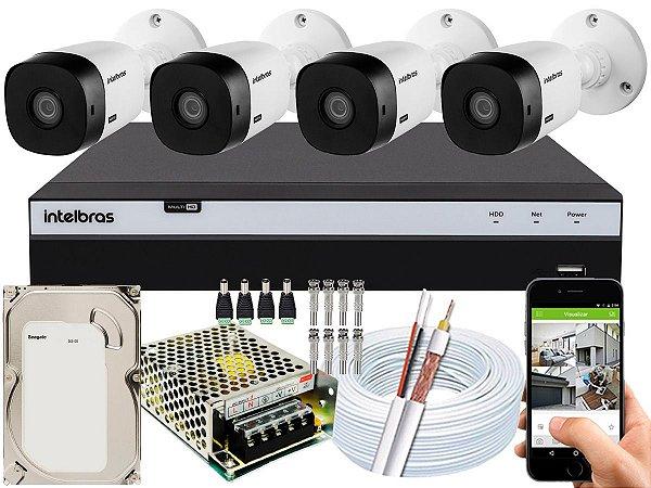 Kit CFTV Intelbras 04 Câmeras VHL 1220 B e DVR de 04 Canais MHDX 3104 500GB