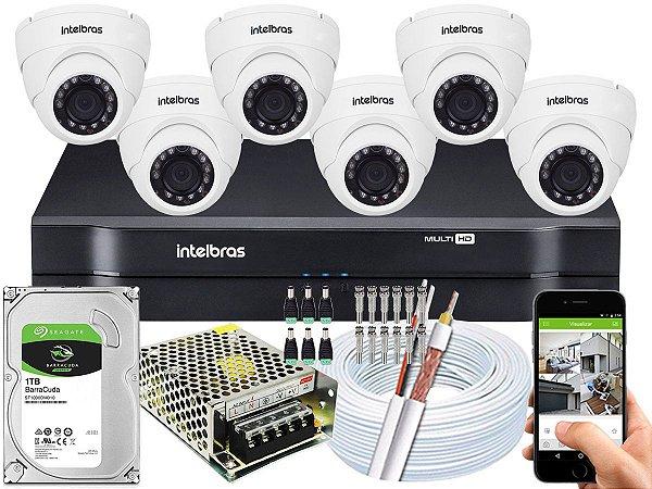 Kit CFTV Intelbras 06 Câmeras VHD 3220 D G4 e DVR de 08 Canais MHDX 1108 1TB