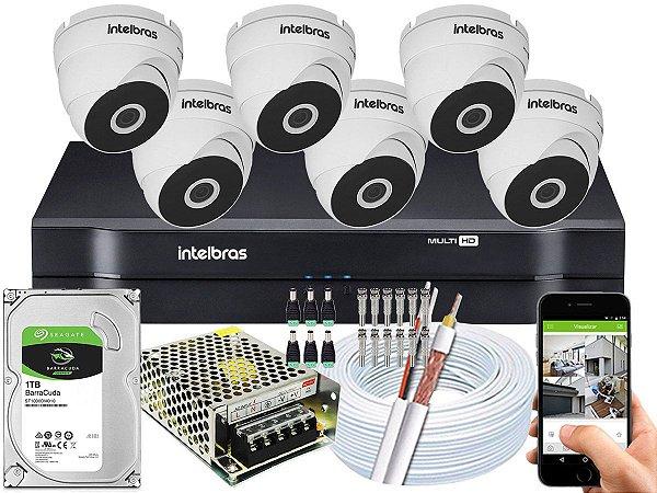 Kit CFTV Intelbras 06 Câmeras VHD 3120 D G5 e DVR de 08 Canais MHDX 1108 1TB